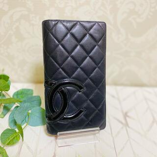 CHANEL - CHANEL カンボンライン 二つ折り財布(黒×黒)