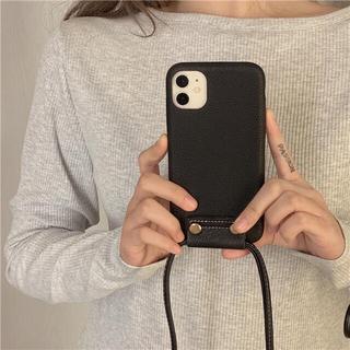 iPhone - 新品nstagramで人気 フェイクレザー iPhoneケース ストラップ付き