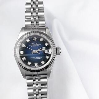 ロレックス(ROLEX)の【仕上済】ロレックス 10P ネイビー文字盤 シルバー レディース 腕時計(腕時計)