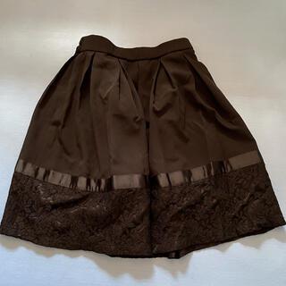 アクシーズファム(axes femme)の裾レースのウエストゴム黒スカート(ひざ丈スカート)