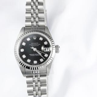 ロレックス(ROLEX)の【仕上済】ロレックス 10P 新ダイヤ 黒文字盤 シルバー レディース 腕時計(腕時計)