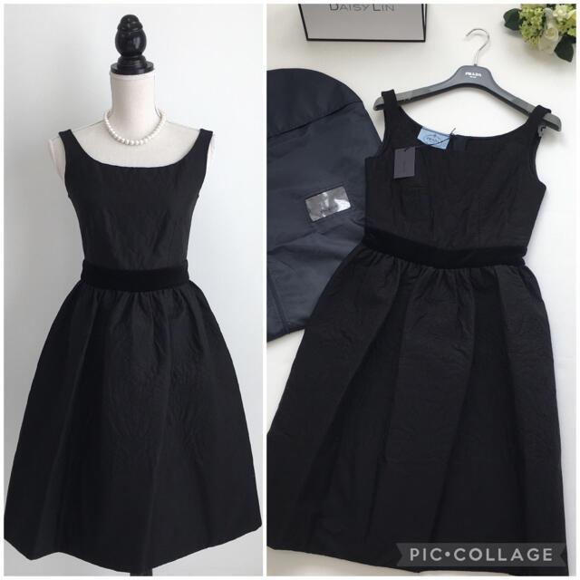 PRADA(プラダ)の美品 プラダ PRADA 中綿 ブラック フレア ドレス ワンピース レディースのワンピース(ひざ丈ワンピース)の商品写真
