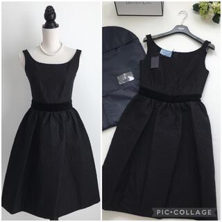 PRADA - 美品 プラダ PRADA 中綿 ブラック フレア ドレス ワンピース