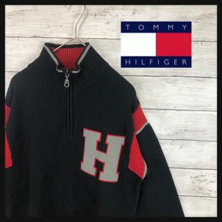 TOMMY HILFIGER - 【90年代トミーヒルフィガー】ハーフジップニットトレーナー デカロゴ刺繍