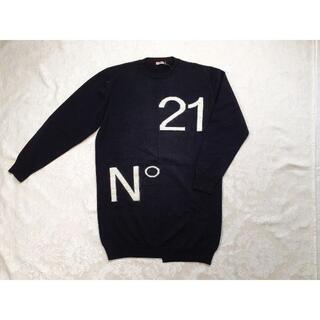 ヌメロヴェントゥーノ(N°21)の【新品・未使用】N°21 KIDS ロゴニットワンピース ブラック 16Y (ワンピース)