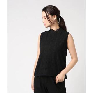 サマンサモスモス(SM2)の新品未使用 SM2 シャーリング衿ノースリーブカットソー レース 黒(カットソー(半袖/袖なし))