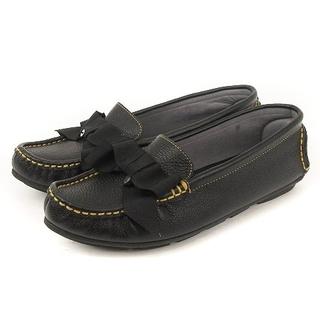 ランバン(LANVIN)のランバン ドライビングシューズ リボン レザー 黒 22 1/2 靴(ローファー/革靴)