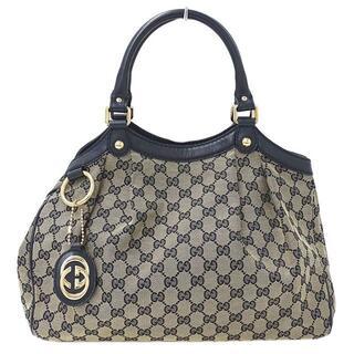 グッチ(Gucci)のグッチ GGキャンバス スーキー ハンドバッグ ネイビー×ベージュ211944(ショルダーバッグ)