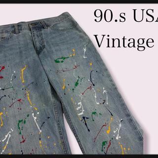 【90年代 USA古着デニム】painting damageデニムパンツ希少古着