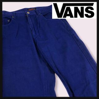 VANS - 【90年代 希少USA製バンズ】極太ワイドパンツスナップロゴダークパープルカラー