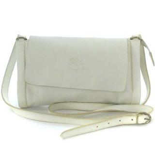 IL BISONTE - イルビゾンテ レザー ショルダー バッグ 本革 ロゴ ホワイト 白 カバン 鞄