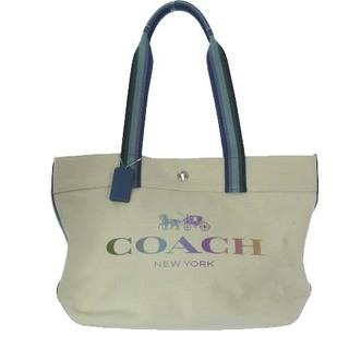 コーチ(COACH)のコーチ 91170 レインボー ロゴ トート バッグ ハンド キャンバス レザー(トートバッグ)