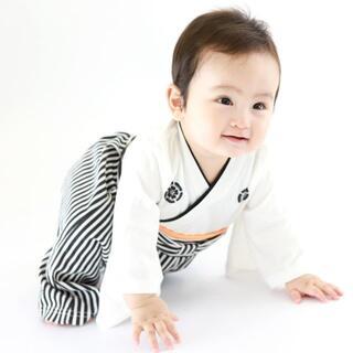 袴ロンパース 白 サイズ60cm 男の子 人気 袴 羽織はかま 和装 初節句