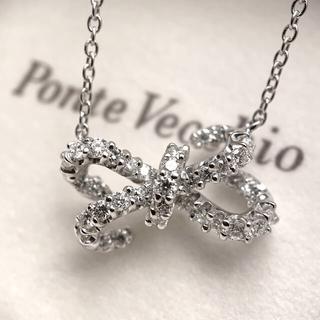ポンテヴェキオ(PonteVecchio)のPonteVecchio ポンテヴェキオ K18WG ダイヤ リボン ネックレス(ネックレス)