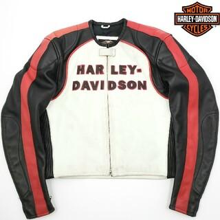 Harley Davidson - M'zP別注◆HARLEY-DAVIDSON◆レザーライダースジャケット白黒赤L