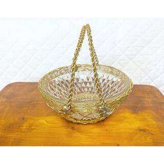 ゴールドとガラスのボール☆ お皿 カゴ バケット 昭和 レトロ
