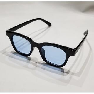 今年大流行 新品ブルーレンズブラックフレームサングラス
