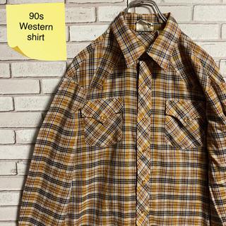 90s 古着 ヴィンテージ ウエスタンシャツ チェック BDシャツ ゆるだぼ