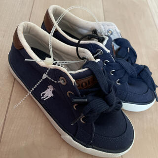 ポロラルフローレン(POLO RALPH LAUREN)の新品未使用 ポロラルフローレン  キッズ靴訳あり 可愛いかっこいいネイビー靴(スニーカー)