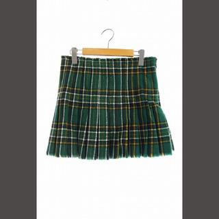 バレンシアガ(Balenciaga)のバレンシアガ チェックプリーツスカート ミニ ウール 34 緑 グリーン(ミニスカート)