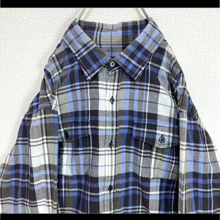 バーバリーブラックレーベル(BURBERRY BLACK LABEL)のバーバリー ブラックレーベル チェックシャツ ネルシャツ 裾ロゴ刺繍 M相当(シャツ)