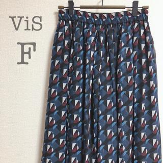 ヴィス(ViS)のvis ビズ スカートパンツ ネイビー(ロングスカート)