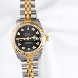 ロレックス(ROLEX)の【保証書付】ロレックス 10P 新ダイヤ 黒文字盤 コンビ レディース 腕時計(腕時計)