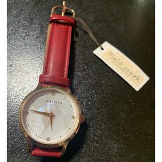 [フィールドワーク] 腕時計 革ベルト レディース ワインレッド