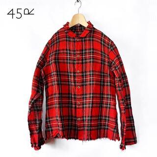 45rpm - 45rpm✨リネンタッチ ウール タータンチェック 切りっぱなし ネルシャツ