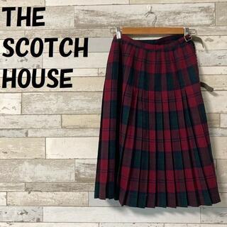 ザスコッチハウス(THE SCOTCH HOUSE)の【人気】ザ・スコッチハウス プリーツラップスカート タータンチェック フリンジ(ひざ丈スカート)