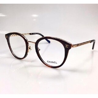 素敵?★シャネル ★眼鏡用フレーム  チェーンタイプココマーク付 ブラウン鼈甲色