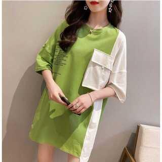 レディース 韓国ストリート オーバーサイズ ビッグシルエット ロゴTシャツ 半袖