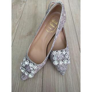 キラキララインストーンパンプス ラメポインテッドトゥ 結婚式靴 24.5