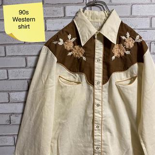 90s 古着 ヴィンテージ ウエスタンシャツ 刺繍 BDシャツ ゆるだぼ