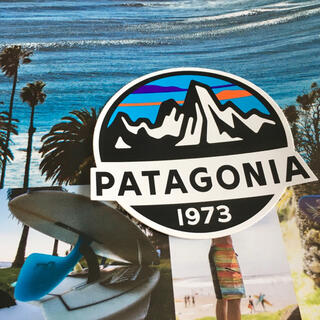 パタゴニア(patagonia)のpatagoniaパタゴニア限定激レア型抜きSINCEステッカーラスト2(サーフィン)