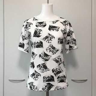 ★にゃんこまみれのモノクロ★猫柄プリントTシャツ Lサイズ【新品】