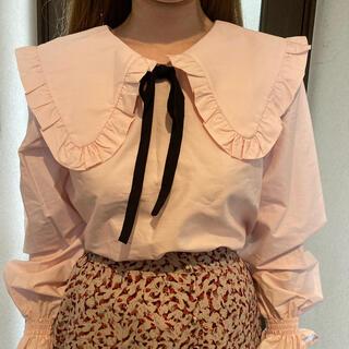 エイチアンドエム(H&M)のH&M ビッグカラーブラウス ピンク(シャツ/ブラウス(長袖/七分))