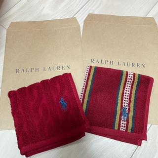 ラルフローレン(Ralph Lauren)のラルフローレン ミニタオル 赤無地 ストライプセット(タオル/バス用品)