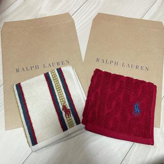 ラルフローレン(Ralph Lauren)のラルフローレン ミニタオル ストライプ 赤無地セット(タオル/バス用品)