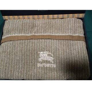 バーバリー(BURBERRY)の希少 バーバリー ウール混タオルケット ブラウン 秋冬用 (毛布)