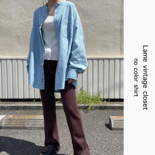 Santa Monica - 90s 古着 ヘリンボーン ノーカラーシャツ ベビーブルー ビンテージ