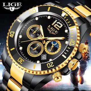 新品 LIGE クロノグラフビッグフェイスウォッチ ブラックゴールドメンズ腕時計