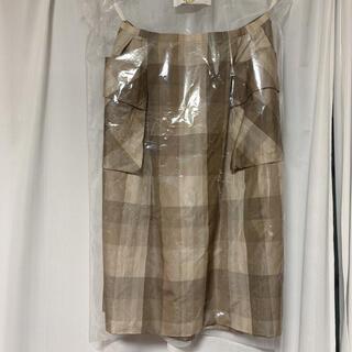 フォクシー(FOXEY)のFOXEY チェック フレアスカート 40 美品(ひざ丈スカート)