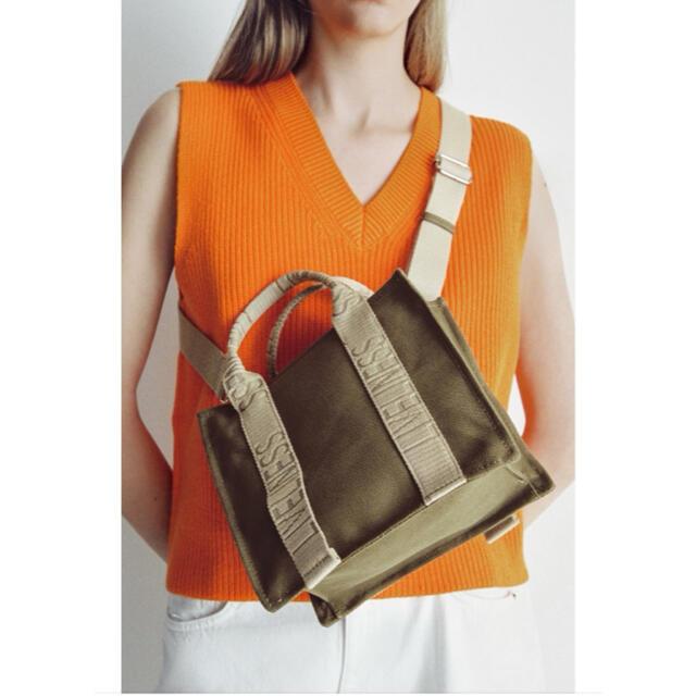 ZARA(ザラ)のZARA ロゴストラップ キャンバス トートバック ミニ エコバッグ ショルダー レディースのバッグ(ショルダーバッグ)の商品写真