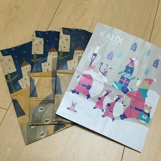 カルディ(KALDI)のカルディ ショップ袋 定番3枚+クリスマス1枚(ショップ袋)
