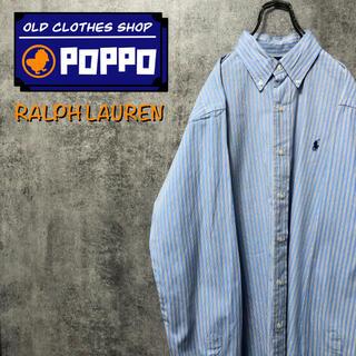 Ralph Lauren - ラルフローレン☆ワンポイント刺繍ロゴストライプシャツ 90s