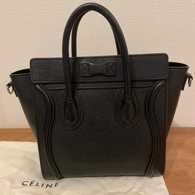 celine(セリーヌ)のセリーヌ⭐︎CELINE⭐︎旧ロゴ⭐︎ラゲージナノ/ドラムドカーフスキンブラック レディースのバッグ(ショルダーバッグ)の商品写真