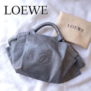 LOEWE - 美品◎保存袋付き ロエベ ミニ ナッパアイレ ハンドバッグ シルバー レザー