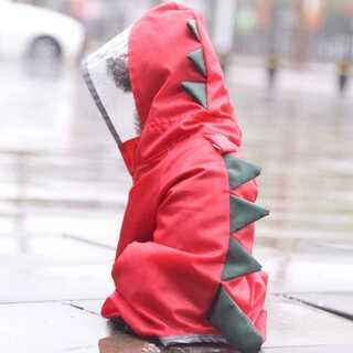 Lサイズ 恐竜 小型 中型 犬用 レインコート 赤 レッド クリア 雨対策(その他)