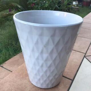 924-7 送料込み 【ダイヤ深鉢】植木鉢 白鉢 陶器鉢 信楽(プランター)